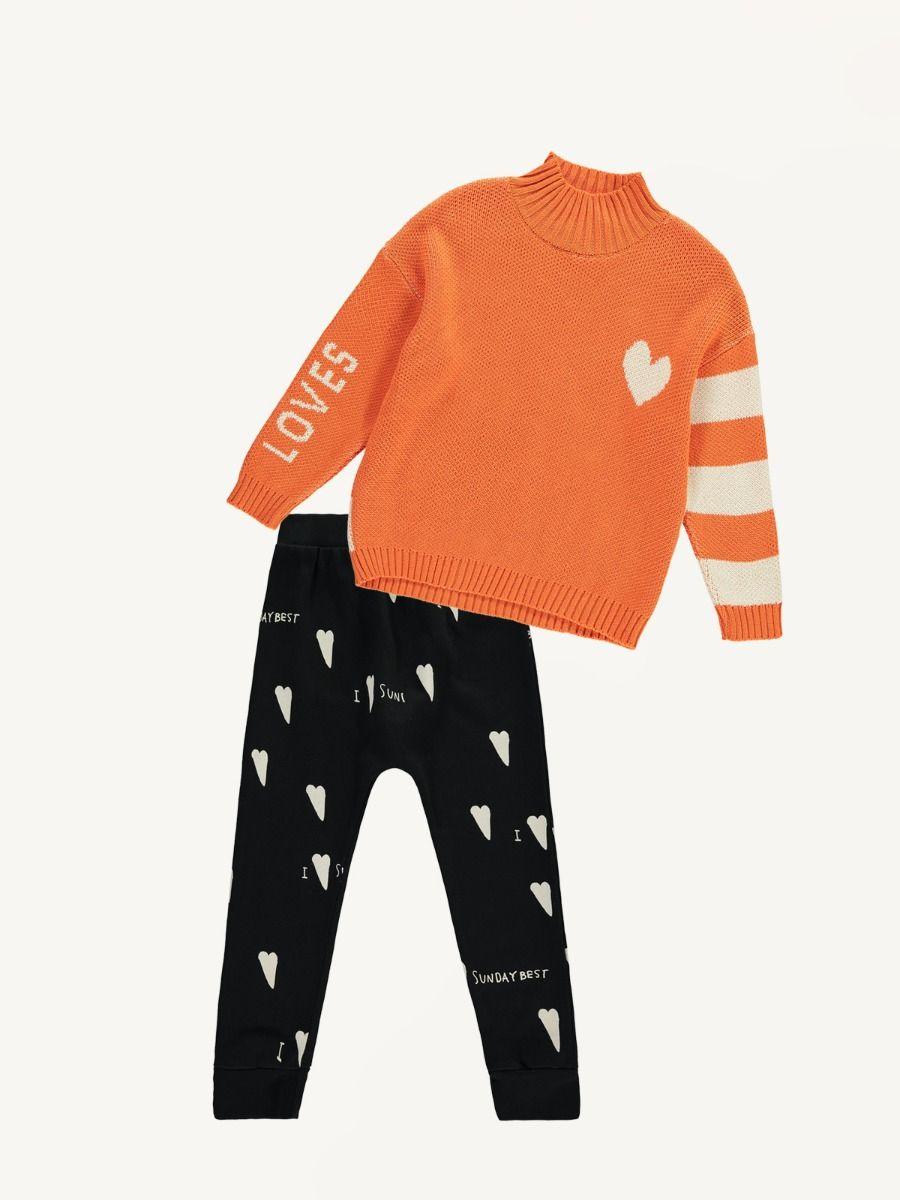 a751f5fda Beau Loves orange knitted jumper and heart print black pants   Trendbee
