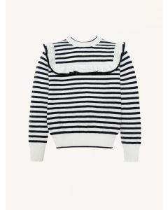 The New Society blue and white stripes Abby knitted jumper