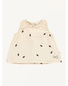Mini Sibling oatmeal diamonds print a-line top