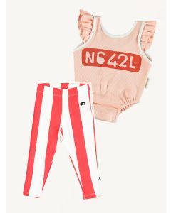 Piupiuchick pink ribbed bodysuit Beau Loves stripes leggings