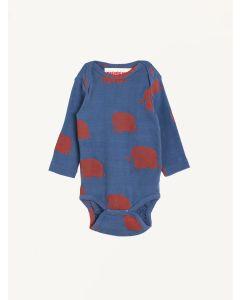 Nadadelazos blue elephant print organic cotton bodysuit