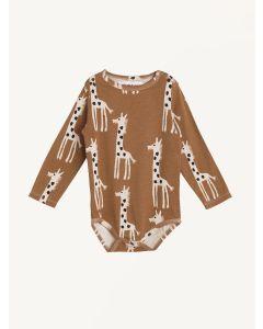 Nadadelazos brown giraffe print organic cotton bodysuit
