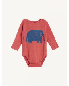 Nadadelazos red elephant print organic cotton bodysuit