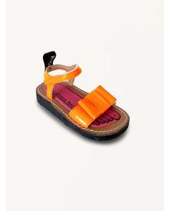 Pied Rougia sunset sky Bow Bow orange sandals