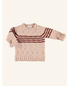 Piupiuchick light pink and brick knitted sweater