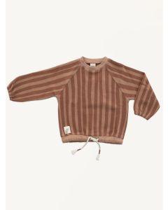 Auntie Me brick red organic cotton stripes sweatshirt