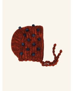Kalinka maroon Camellia wool bonnet