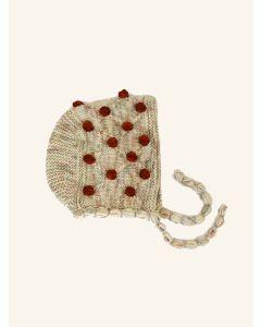 Kalinka beige Camellia wool bonnet