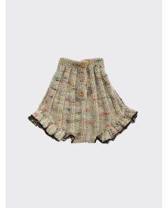 Kalinka Kids melange Dove wool ruffle knitted shorts