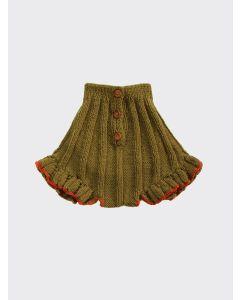 Kalinka Kids moss Dove wool ruffle knitted shorts