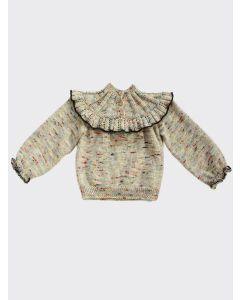 Kalinka Kids melange Dove wool sweater