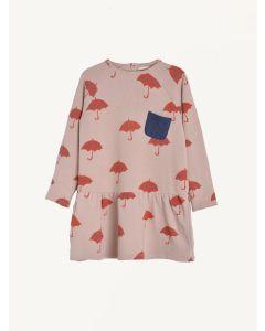 Nadadelazos pale pink Parapluie print organic cotton dress