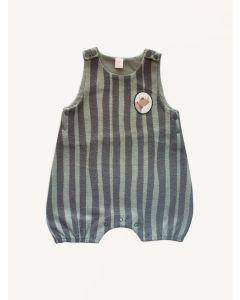 Auntie Me grey stripes organic cotton rhino romper