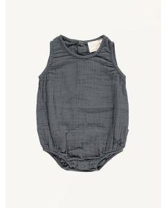 Mini Sibling charcoal grey sunsuit