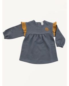 Auntie Me grey shell organic cotton ruffle dress