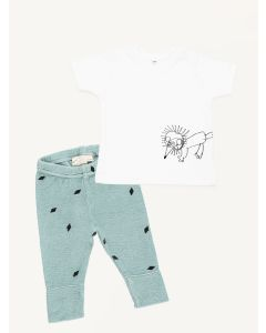 KO fox print t-shirt Mini Sibling mint diamond print slim pants