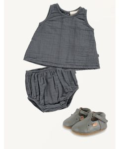 Mini Sibling grey a-line top and bloomers Donsje Spark hippo shoes