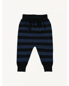 Mini Sibling blue and black stripes knitted trousers