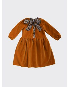 Kalinka Kids gold Norma velour dress