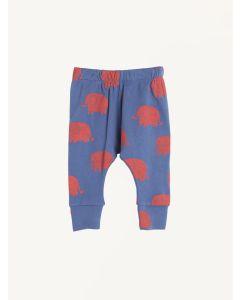 Nadadelazos blue elephant print organic cotton pants