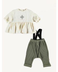 Piupiuchick ecru blouse and khaki pants