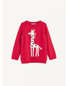 Red knitted Giraffe jumper Nadadelazos