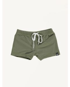 Beach and Bandits ribbed Palm olive green swim shorts
