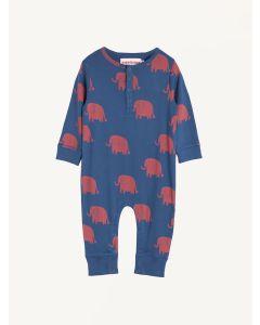 Nadadelazos blue elephant print organic cotton romper