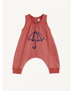Nadadelazos red umbrella print organic cotton jumpsuit
