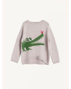 Beige knitted Crocodile print jumper Nadadelazos