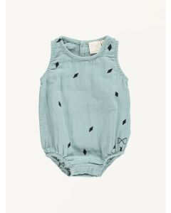 Mini SIbling green tea diamonds print sunsuit