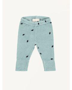 Mini Sibling green tea diamonds print slim baby pants