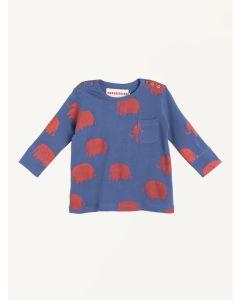Nadadelazos blue organic cotton elephant print t-shirt