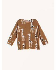 Nadadelazos brown giraffe print organic cotton t-shirt
