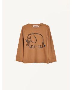 Nadadelazos brown organic cotton elephant print t-shirt